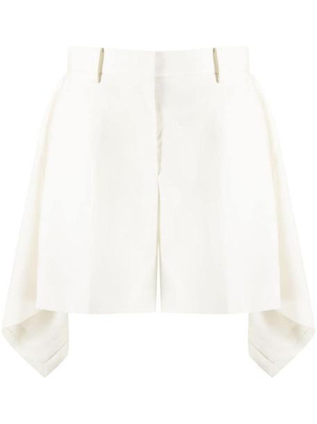 Sacai asymmetric shorts in white