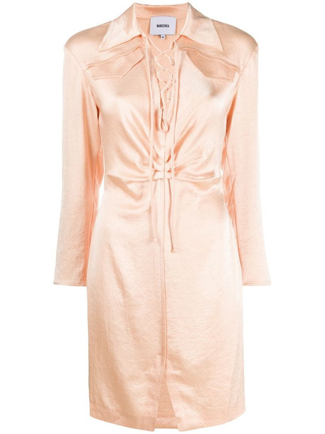 Nanushka lace-up detail dress in pink