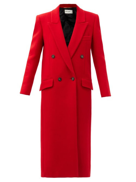 Saint Laurent - Longline Felted Cashmere-blend Coat - Womens - Red