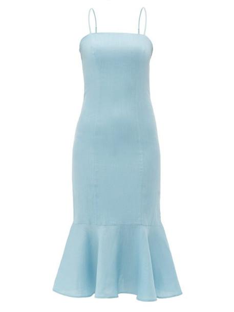 Staud - Lychee Fishtail Hem Linen Midi Dress - Womens - Light Blue
