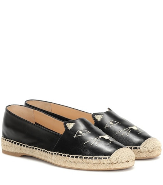 Charlotte Olympia Kitty leather espadrilles in black
