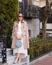 coat,trench coat,white sandals,blue bag,midi skirt,floral skirt,high waisted skirt,white top