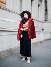 mimi & chichi blog,blogger,jacket,sweater,shirt,pants,hat,shoes,faux fur jacket