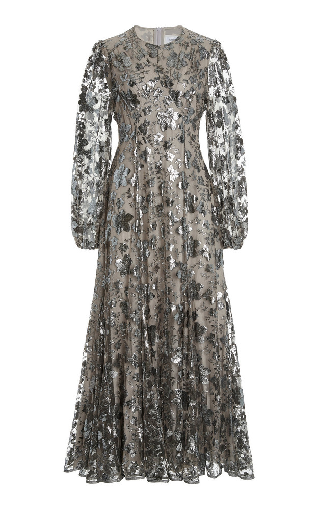 Erdem Baba Floral Fil Coupe Midi Dress in metallic