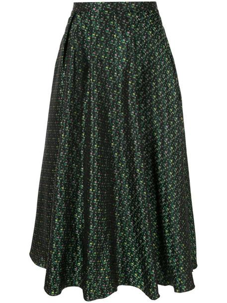 Rochas patterned midi skirt in green