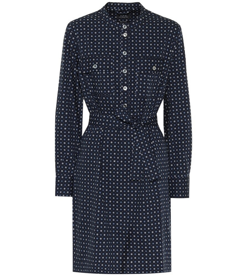 A.P.C. Martine cotton-blend minidress in blue