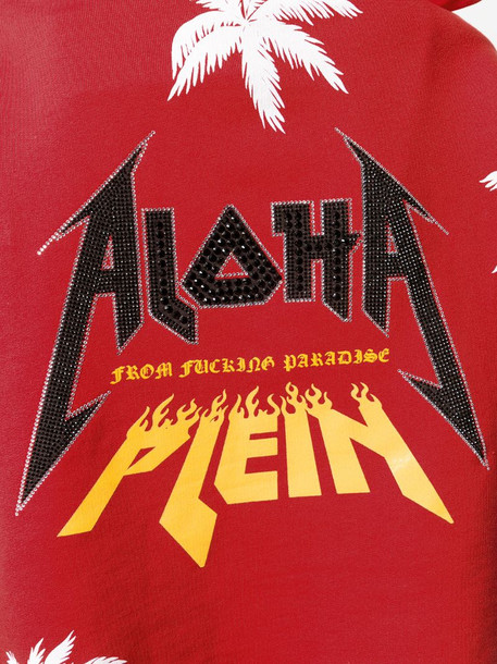 Philipp Plein Aloha hooded sweatshirt in red