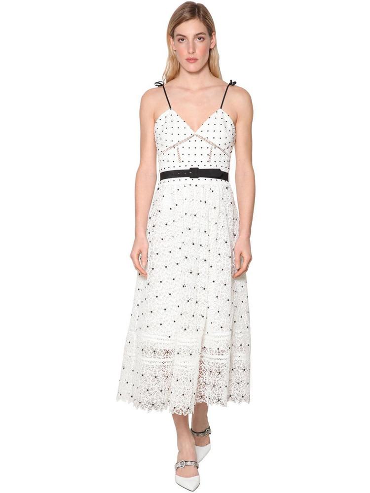 SELF-PORTRAIT Hibiscus Guipure Midi Dress in white