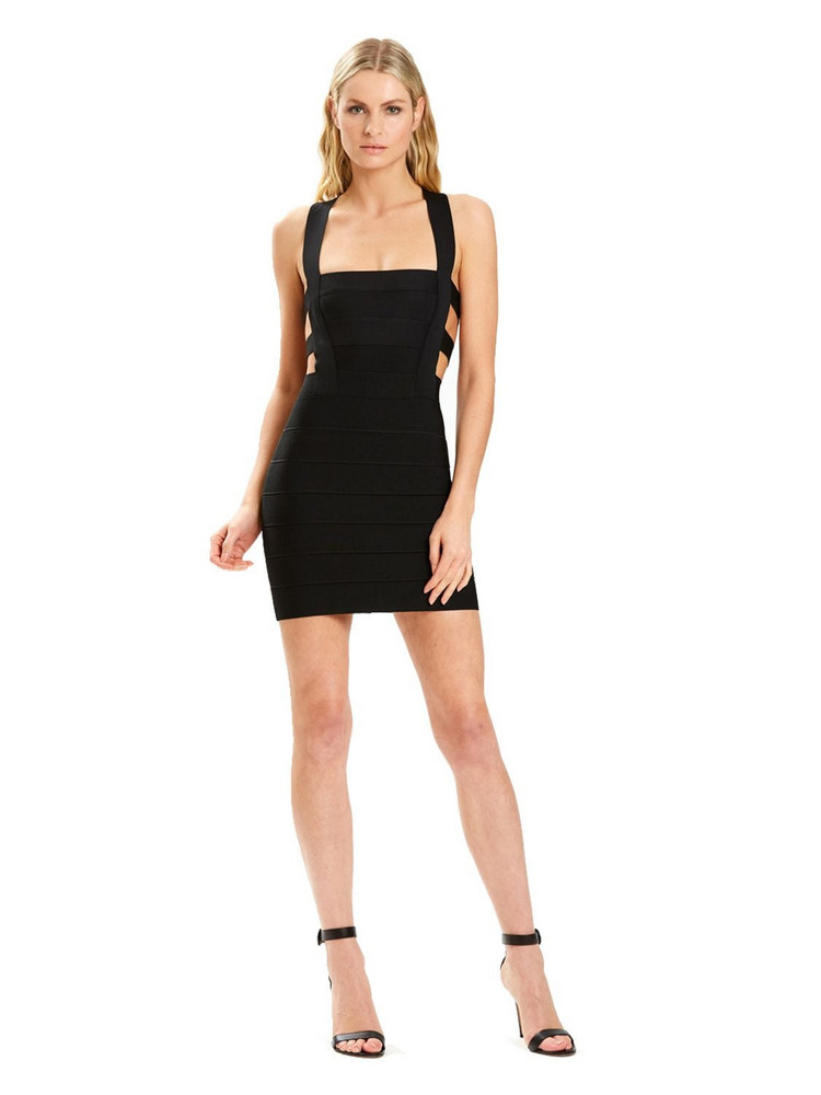 HERVÉ LÉGER Stretch Nylon Knit Bandage Mini Dress in black