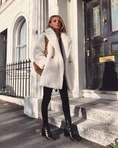 coat,faux fur coat,topshop,black boots,heel boots,black skinny jeans,black sweater,shoulder bag,leopard print