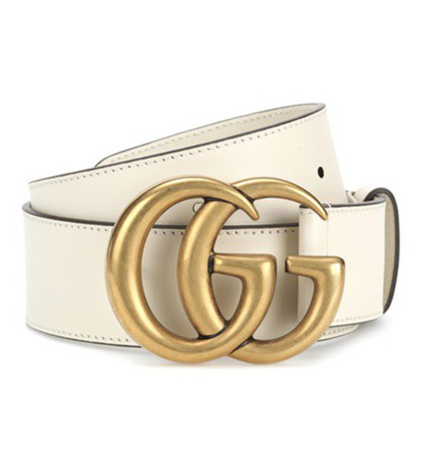 Gucci GG leather belt in white