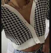 sweater,cardigan,houndstooth,black and white,white,black