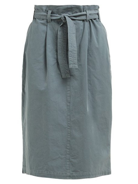 Lemaire - High Rise Paperbag Waist Cotton Skirt - Womens - Blue
