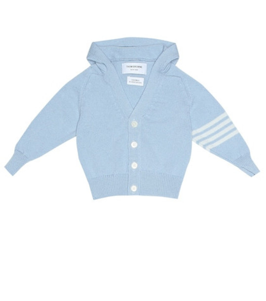 Thom Browne Kids Hooded cashmere cardigan in blue