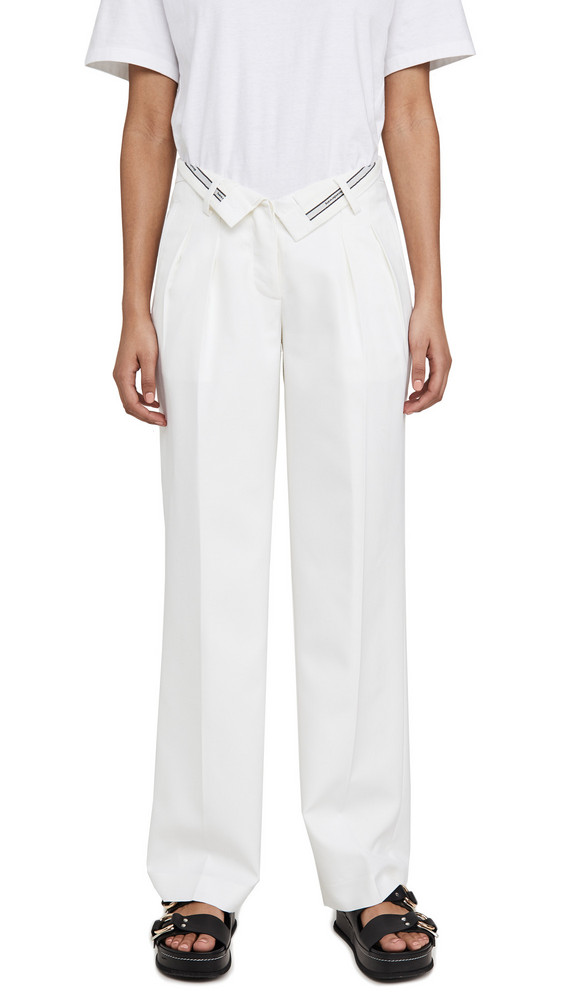 Alexander Wang Mens Trousers with Flipped Waistband in white