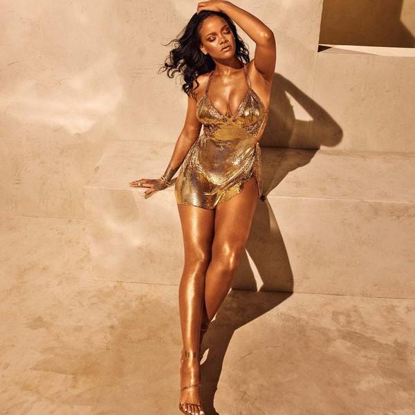 dress metallic gold gold dress rihanna celebrity sexy sexy dress mini dress body lotion body body care