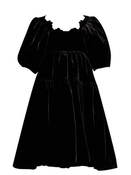 Cecilie Bahnsen - Aviaja Tiered Velvet Dress - Womens - Black