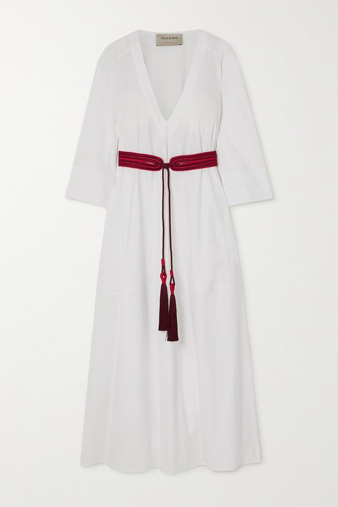 ZEUS + DIONE ZEUS + DIONE - Thysano Tasseled Cotton-blend Poplin Midi Dress - White
