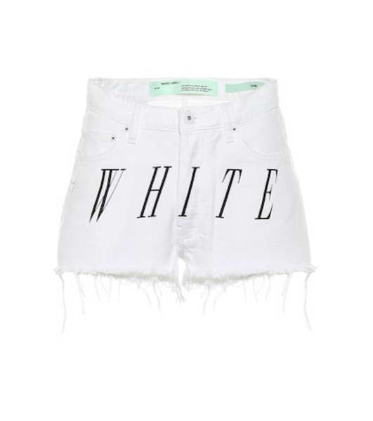 Off-White Distressed denim shorts in white