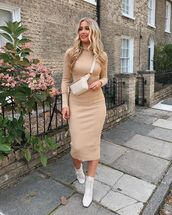 dress,nude dress,bodycon dress,boots,white boots,fall outfits