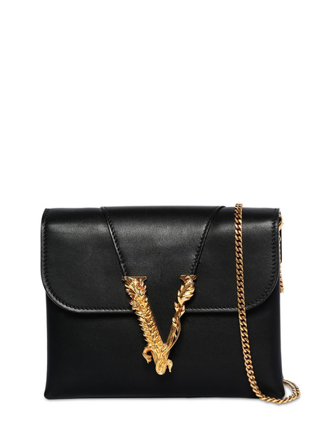 VERSACE Virtus Smooth Leather Wallet Chain Bag in black
