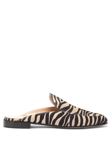 Gianvito Rossi - Palau Zebra-print Suede Backless Loafers - Womens - Black Beige