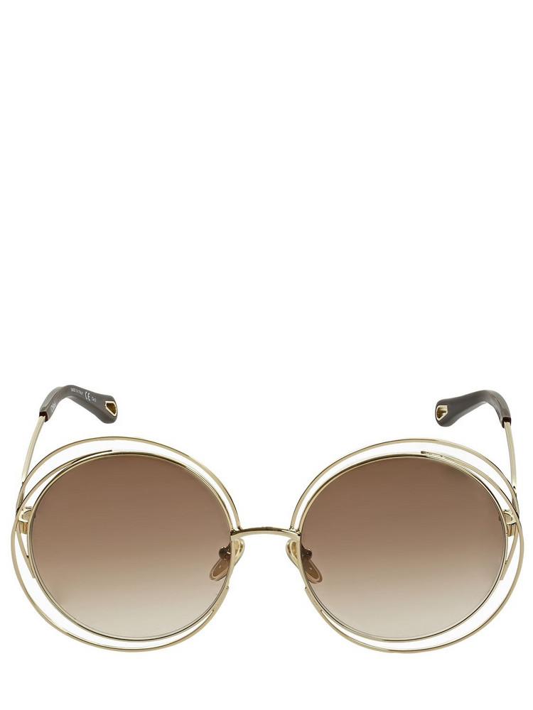 CHLOÉ Carlina Round Metal Sunglasses in brown / gold