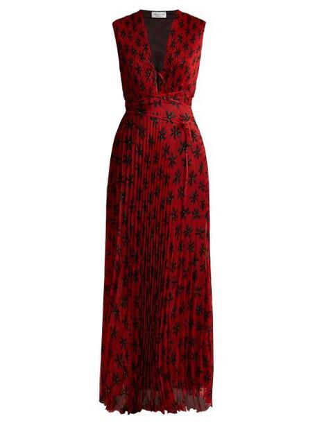 Raquel Diniz - Mika Floral Print Pleated Dress - Womens - Red Multi