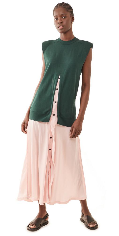 Toga Pulla Knit Long Dress in green