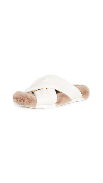Simone Rocha Cross Strap Slides with Fur Lining in cream