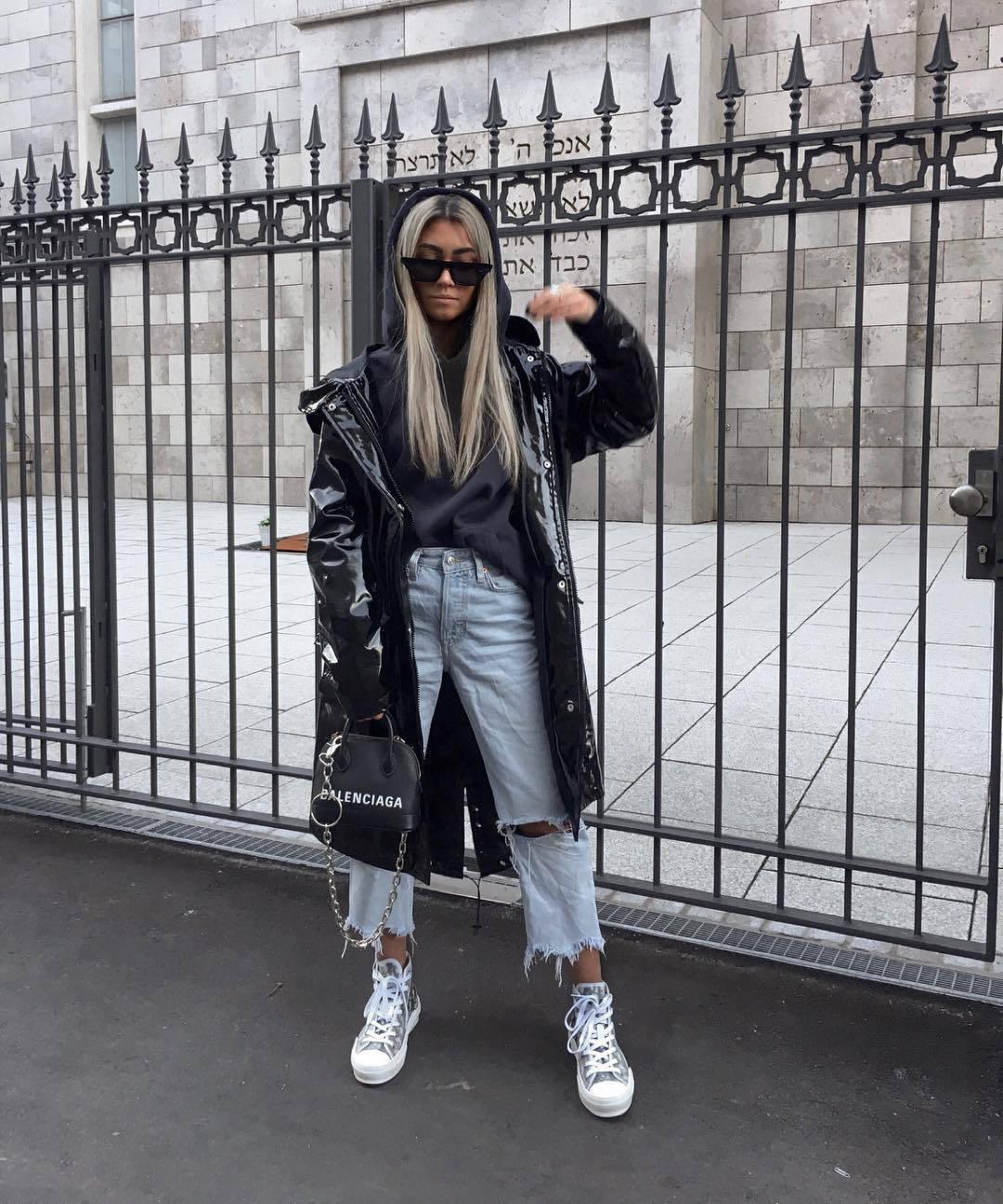 bag shoulder bag sneakers cropped jeans boyfriend jeans vinyl black coat black bag black hoodie black sunglasses