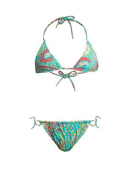 Etro - Abstract Paisley Print Bikini - Womens - Green Multi