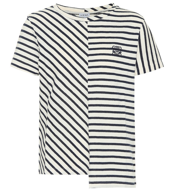 Loewe Asymmetrical striped cotton T-shirt