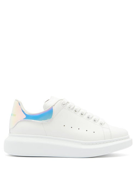 Alexander Mcqueen - Raised-sole Holographic-heel Leather Trainers - Womens - White Multi