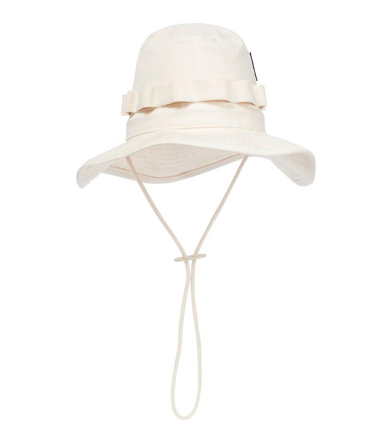 Jil Sander Cotton herringbone bucket hat in beige