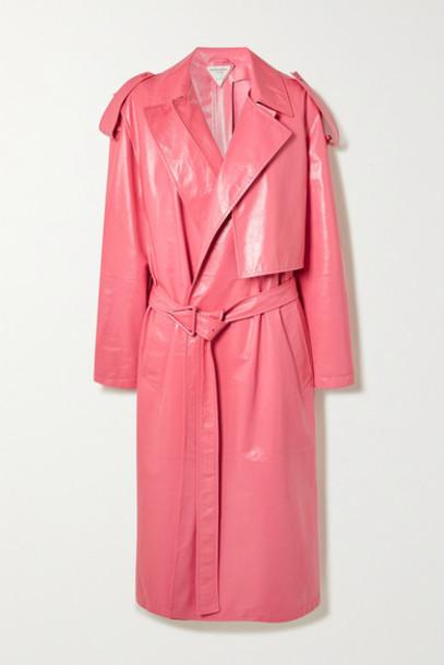 Bottega Veneta - Convertible Crinkled Glossed-leather Trench Coat - Pink
