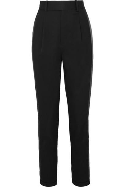 SAINT LAURENT - Striped Wool-twill Slim-leg Pants - Black