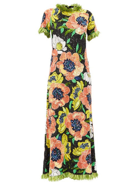Ashish - Floral Sequinned Maxi Dress - Womens - Multi