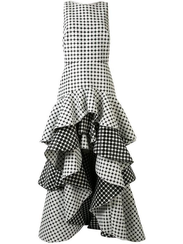 Tadashi Shoji sleeveless tiered jacquard dots gown in white