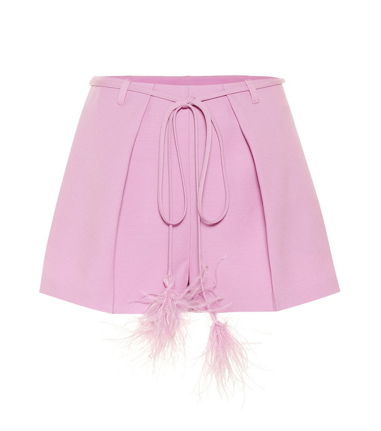 Valentino Feather-trimmed wool and silk shorts in purple