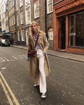 coat,trench coat,double breasted,long coat,high waisted pants,flare pants,pleated,converse,crossbody bag,blue shirt