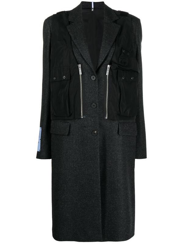 MCQ long wool utility coat in grey
