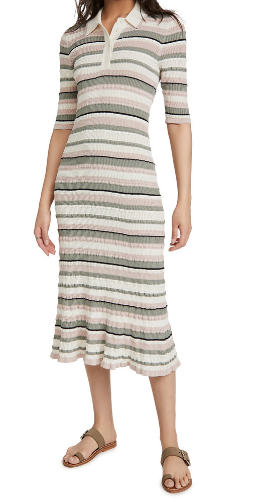 Adam Lippes Polo Dress In Cotton Crepe Yarn in ivory / multi