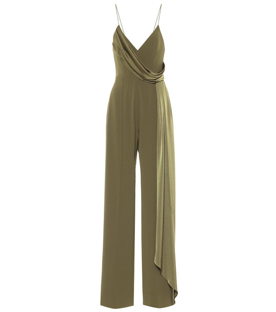 Alex Perry Harlow satin-crêpe jumpsuit in green