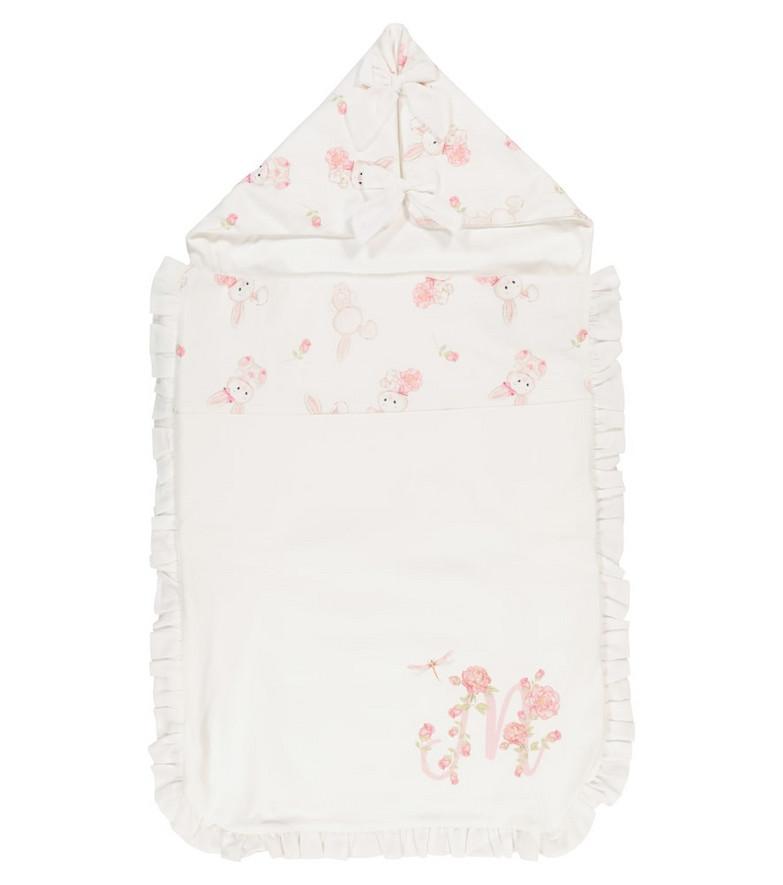 Monnalisa Baby printed cotton bunting bag in white