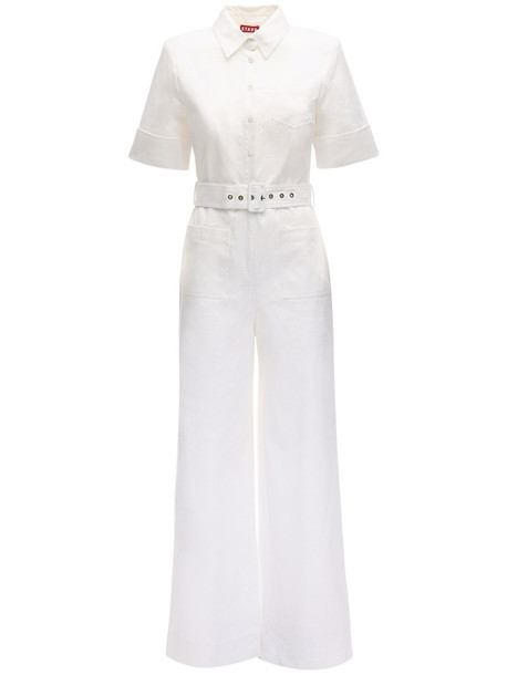 STAUD Linen Blend Jumpsuit in white