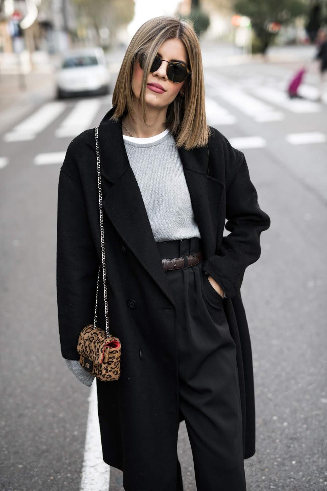 ms treinta blogger coat sweater pants bag sunglasses black coat black pants high waisted pants leopard bag