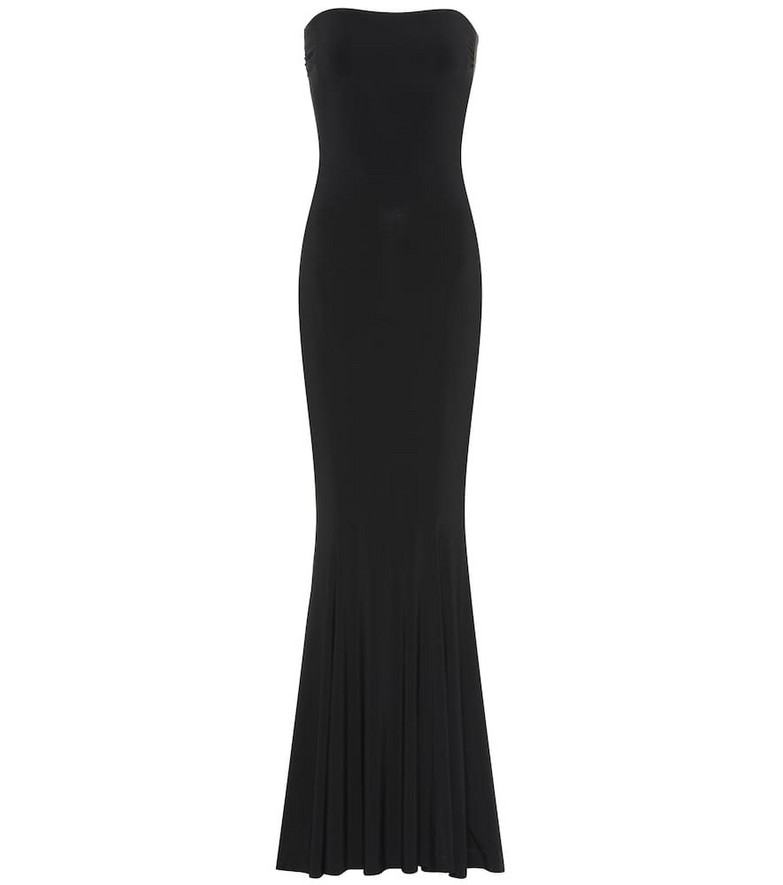 Norma Kamali Fishtail strapless jersey gown in black