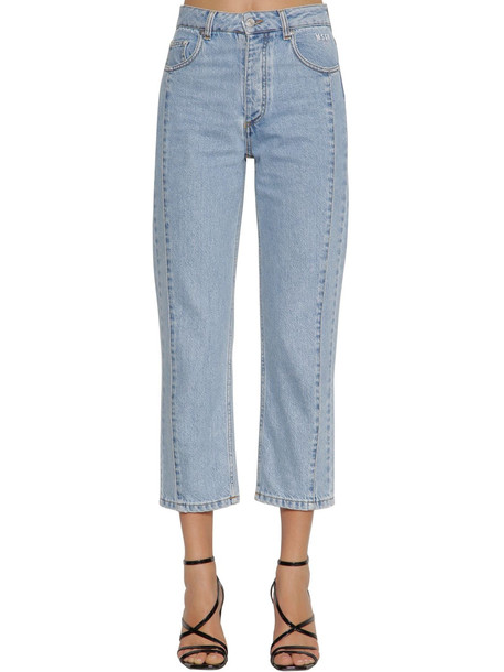 MSGM Straight Cropped Cotton Denim Jeans in blue
