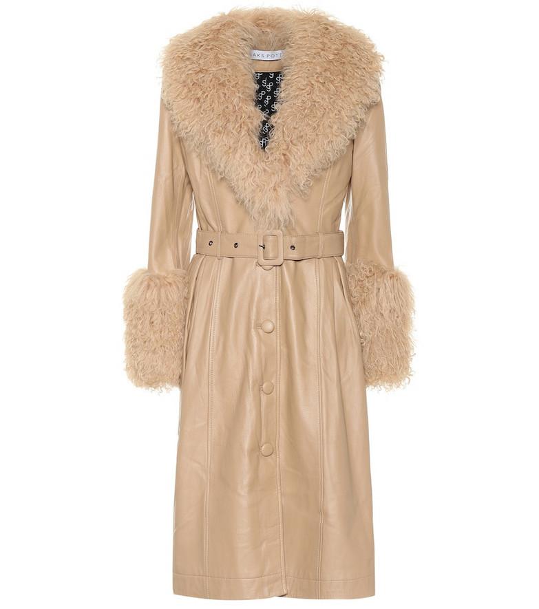 Saks Potts Foxy fur-trimmed leather coat in beige